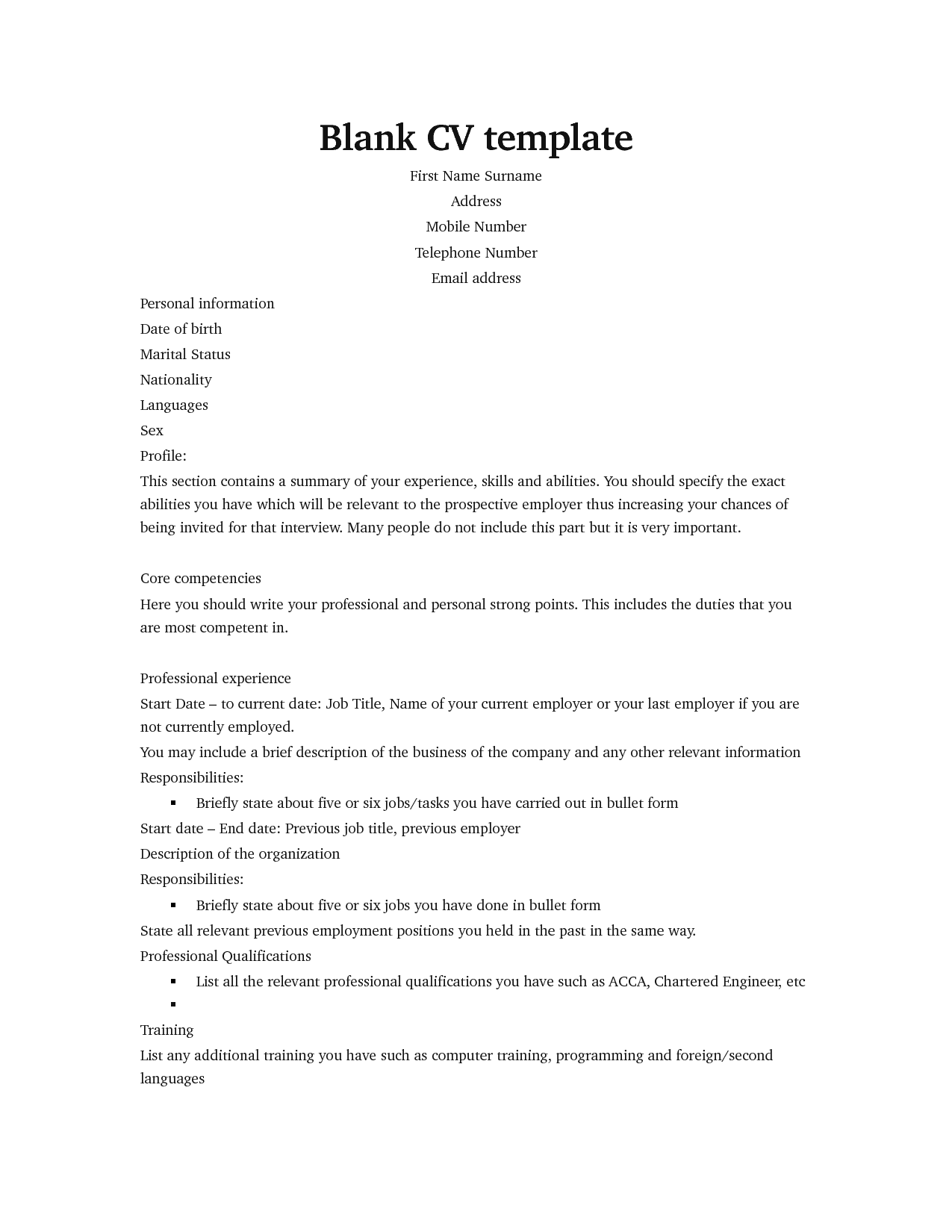 Professional blank cv template for job seekers cv template image yelopaper