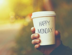 Cup with happy Monday text